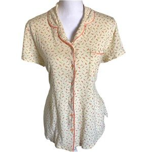 3/$8🎉 Cream with Coral Flowers button up pj top